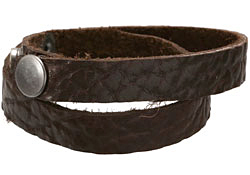 "The Lipstick Ranch Chocolate Hornback Bull Hide Cuff Double Wrap Bracelet 1/2"" x 16 1/4"""