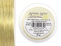 Artistic Wire Bare Yellow Brass 28 gauge, 40 yards