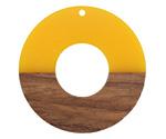Walnut Wood & Saffron Resin Donut Focal 45mm