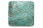 Lillypilly Green Rolling Waves Black Lip Shell Square Cabochon 31mm