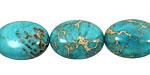 Ocean Blue Impression Jasper Puff Oval 18x13mm