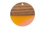 Walnut Wood & Sunrise Resin Coin Focal 28mm