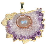 Amethyst Stalactite Slice Pendant Set in Gold (plated) 32-50x35-50mm