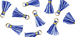 Cobalt Mix w/ Gold Binding & Jump Ring Tiny Thread Tassel 12mm