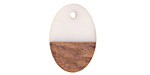 Wood & Alabaster Resin Oval Focal 16x23mm