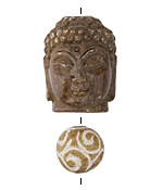 Soochow Jade Carved Buddha Head 22x28mm & Round 14mm