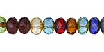 Czech Glass Fire Polished Dark Mix Multicolor Picasso Rondelle 6x9mm