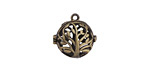 Antique Brass (plated) Tree Of Life Diffuser Locket 17x17mm