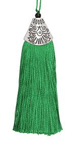 Emerald Thread Tassel w/ Antique Silver (plated) Broad Tassel Cap 20x75mm