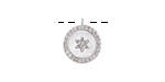 Silver Finish Pave CZ Starburst Coin Focal 12x14mm