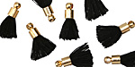 Jet w/ Gold (plated) Bead Cap Tiny Thread Tassel 14mm