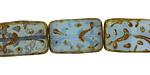 Czech Glass Caribbean Blue Groovy Rectangle 18x12mm