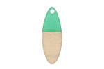 Wood & Emerald Resin Oval Focal 10x28mm