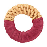 Berry Raffia Wrapped Natural Rattan-Style Woven Ring Focal 39-42mm