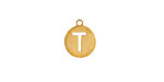 """Gold (plated) Stainless Steel Initial Coin Charm """"T"""" 10x12mm"""
