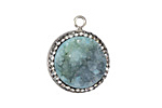 Sky Blue Druzy w/ Pave Wrap Coin Focal Set in Silver (plated) 20x22mm