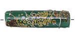 A Beaded Gift Dusted Jade Raku Barrel (large hole) 42-43x12-13mm