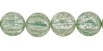 Czech Glass Opal Green w/ Mercury Finish Melon Round 12mm