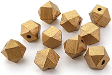 Metallic Gold Wood Faceted Nugget 14mm