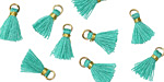 Turquoise w/ Gold Binding & Jump Ring Tiny Thread Tassel 12mm