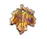 XAZ Raku Golden Chameleon Maple Leaf Pendant 29-30x31-32mm