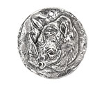 Green Girl Pewter Rhino Coin Pendant 34x35mm