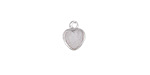 Metallic Crystal Druzy Heart Charm in Silver Finish Bezel 8x10mm