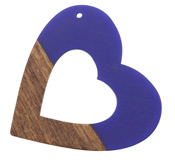 Walnut Wood & Royal Blue Resin Open Heart Focal 50mm