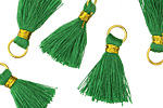 Kelly Green w/ Gold Binding & Jump Ring Thread Tassel 18mm