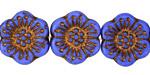 Czech Glass Bronzed Cornflower Blue Wild Rose Coin 18mm