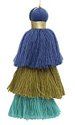 Peacock Mix 3-Tiered Tassel 75mm