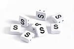 "White Enamel 2-Hole Tile Square Bead w/ Letter ""S"" 8mm"