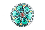 Czech Glass Sea Green Rose Window Button 27mm