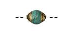 Tibetan Small Turquoise & Brass Bead 14x10mm