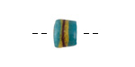 African Powder Glass Turquoise w/ Yellow & Burgundy Band Barrel Bead 8-9x10-11mm
