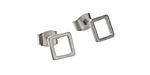Satin Rhodium (Plated) 7mm Open Square Post Earring w/Back