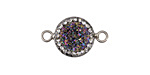 Metallic Rainbow Druzy w/ Pave Wrap Coin Focal Link Set in Silver (plated) 22x14mm