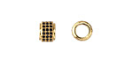 Jet Pave CZ 18K Gold (plated) Large Hole Rondelle 6x8mm