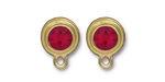 TierraCast Gold (plated) Stepped Bezel Ear Post w/ Siam Ruby Crystal 12x17mm