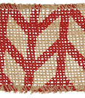 "Red Chevron 2.5"" Burlap Wired Ribbon"