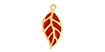 Cherry Red Enamel Gold (plated) Stainless Steel Falling Leaf Focal 10x22mm