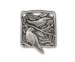 TierraCast Antique Pewter (plated) Botanical Bird Pendant 23x29mm