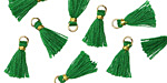 Kelly Green w/ Gold Binding & Jump Ring Tiny Thread Tassel 12mm