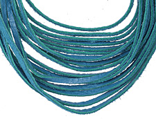 "The Lipstick Ranch Turquoise Shredded Leather Choker 17 1/4"" x 2"""