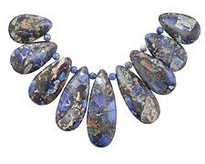 Midnight Blue Impression Jasper Teardrop Pendant Set 15-16x24-43mm