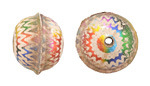 Hand Painted Weathered Metallic Rainbow Zigzags Leather Round Bead 20-22mm