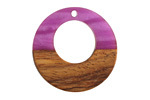 Walnut Wood & Orchid Pearlescent Resin Off-Center Hoop Focal 28mm