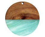 Walnut Wood & Sea Green Pearlescent Resin Coin Focal 38mm