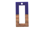 Walnut Wood & Royal Blue Resin Open Rectangle Focal 15x28mm