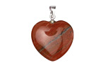 Red Jasper Heart Pendant w/ Silver (plated) Bail 20mm